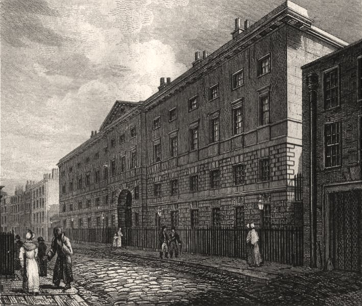 Associate Product The Excise Office, London. Antique engraved print 1817 old