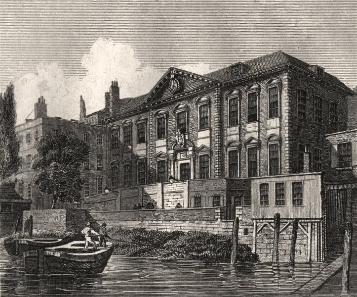 Associate Product Fishmongers' Hall, London. Antique engraved print 1817 old
