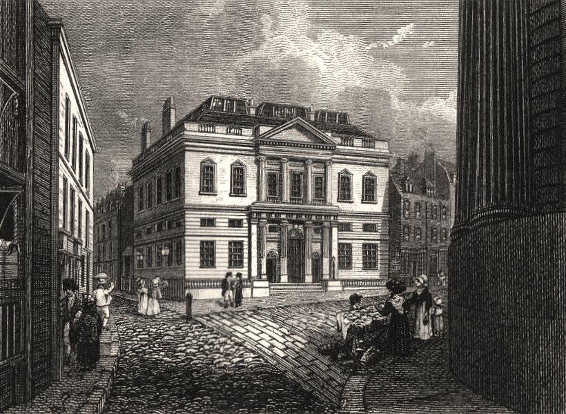 Associate Product The Auction Mart, Bartholomew Lane, London. Antique engraved print 1817