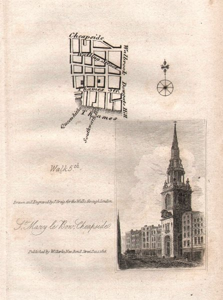 Associate Product City of London EC4 Walbrook Watling Street St Mary le Bow Cheapside 1817 map