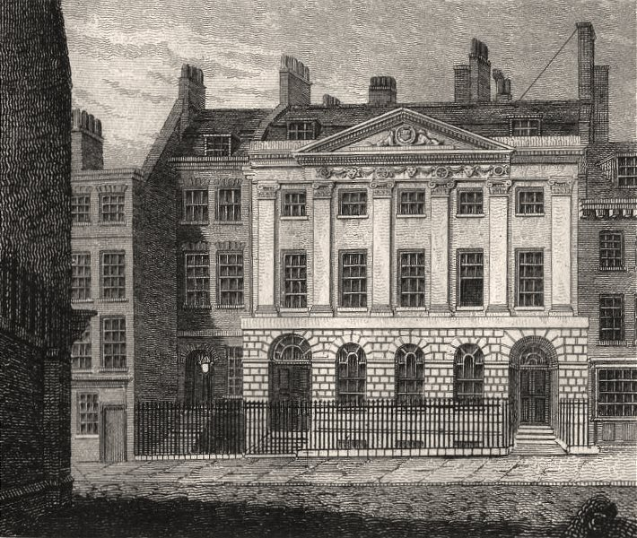 Associate Product Skinners' Hall, London. Antique engraved print 1817 old picture