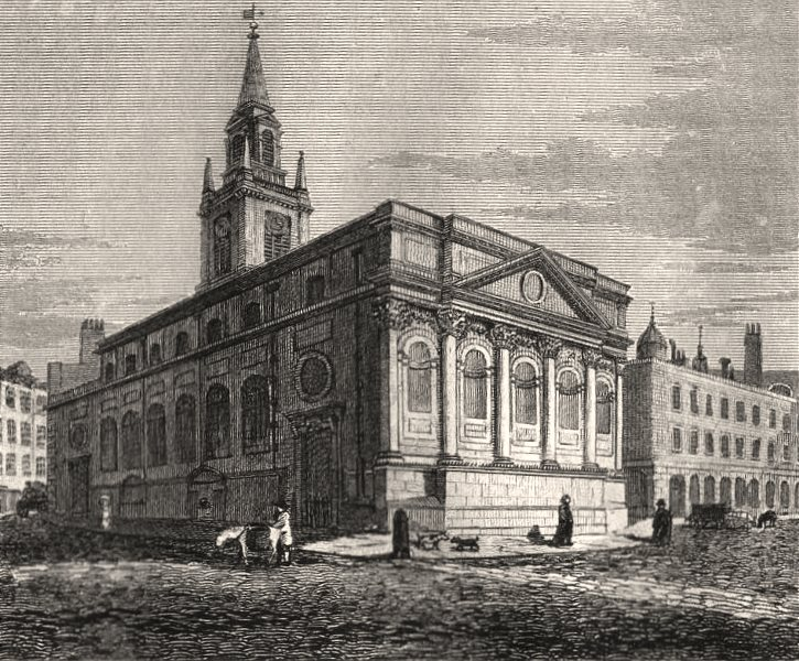 Associate Product St Lawrence's Church, King Street, Cheapside, London. Antique print 1817