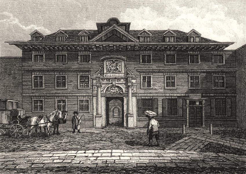 Associate Product Blackwell Hall, King Street, London. Antique engraved print 1817 old