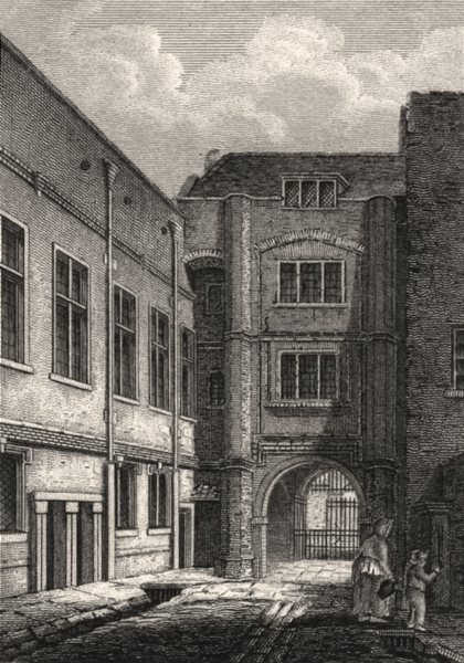 Associate Product Sion College, London Wall. Antique engraved print 1817 old