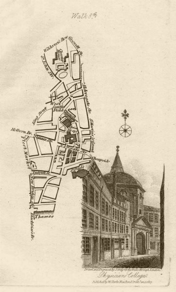 Associate Product City of London Smithfield Farringdon Blackfriars St Paul's Barts EC1/4 1817 map