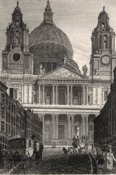 Associate Product St Paul's Cathedral, London. Antique engraved print 1817 old