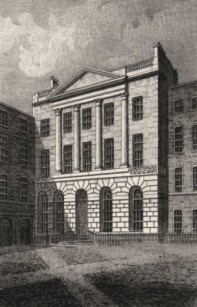 Associate Product Serjeant's Inn Fleet Street, London. Antique engraved print 1817 old
