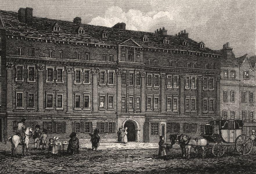 Associate Product Furnival's Inn, Holborn, London. Antique engraved print 1817 old