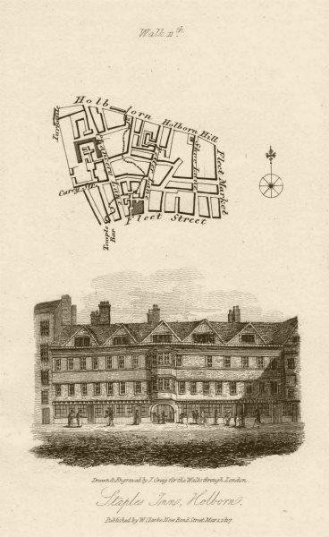 Associate Product Chancery Lane Fetter Lane Fleet Street Holborn Staple Inn EC4A 1817 old map