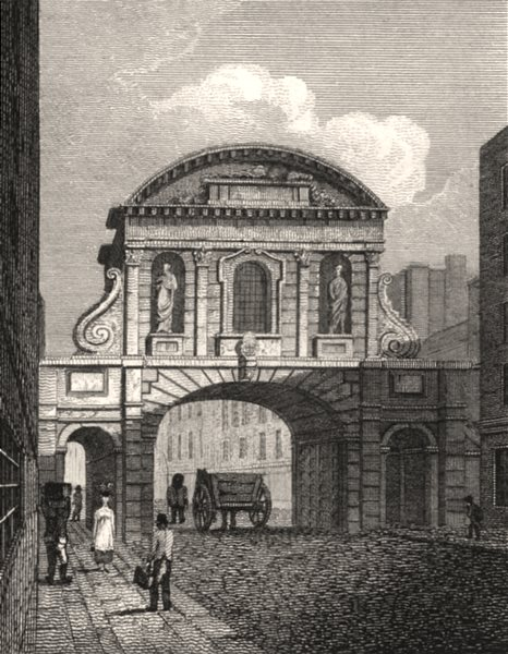Associate Product Temple Bar, London. Antique engraved print 1817 old picture