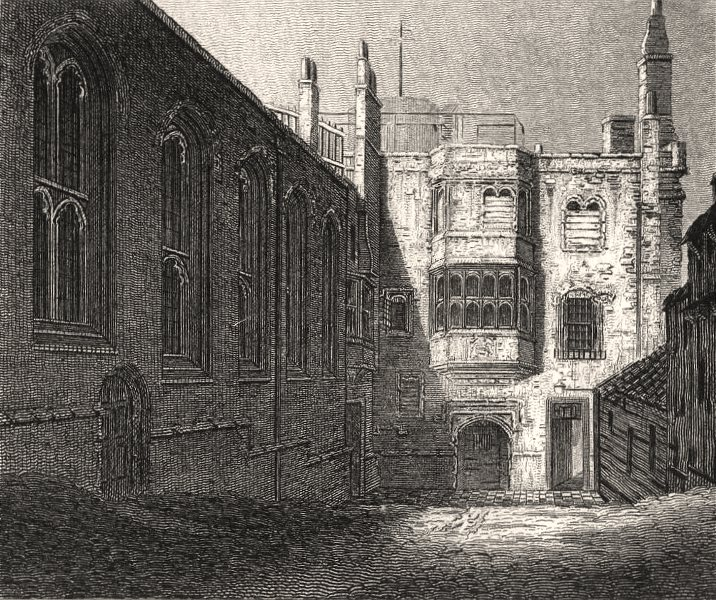 Associate Product The Church & prison entrance, Savoy, London. Antique engraved print 1817