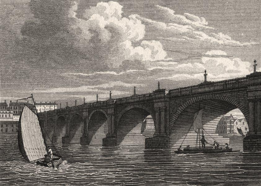 Associate Product Waterloo Bridge, London. Antique engraved print 1817 old picture