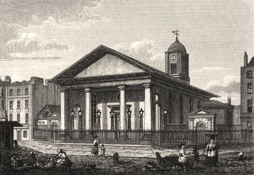Associate Product St Paul's Church, Covent Garden, London. Antique engraved print 1817 old