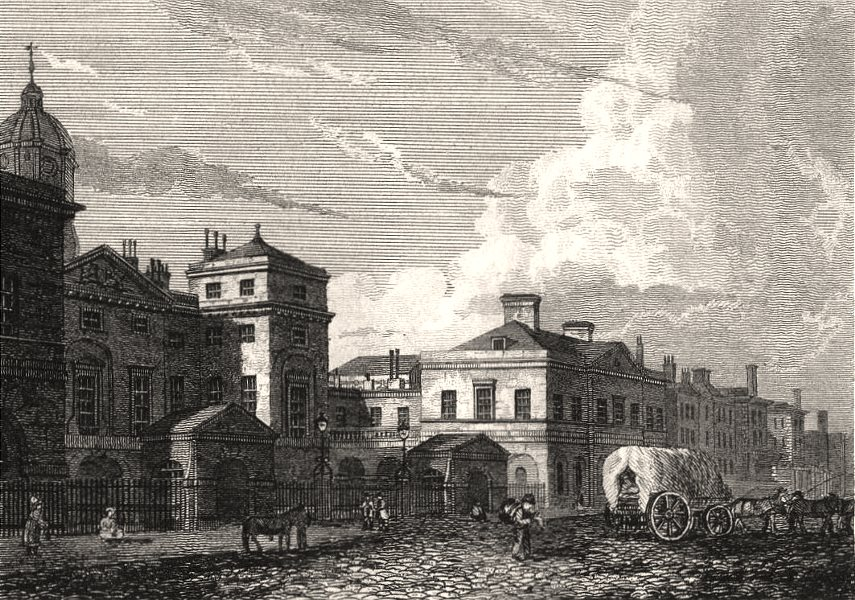 Associate Product Horse Guards, London. Antique engraved print 1817 old picture