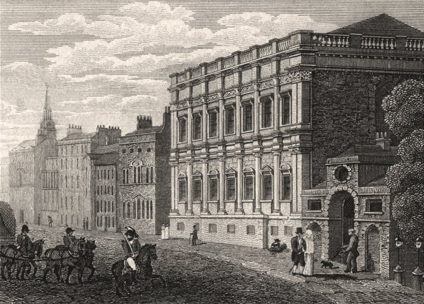 Associate Product Whitehall, London. Antique engraved print 1817 old picture