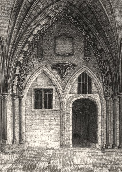 Associate Product The Chapter House, Westminster Abbey, London. Antique engraved print 1817