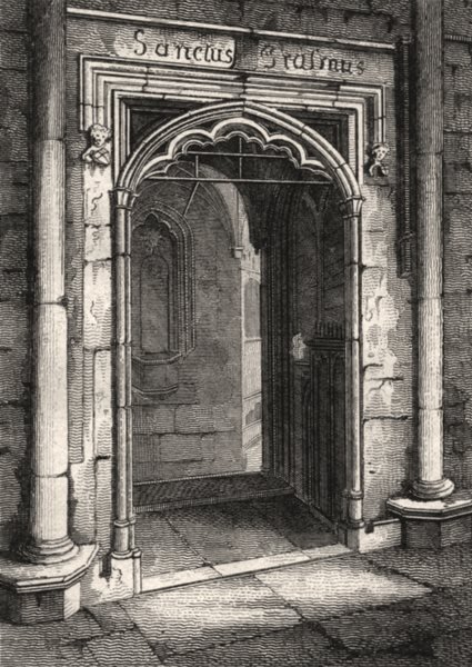 Associate Product St Erasmus's Chapel, Westminster Abbey, London. Antique engraved print 1817