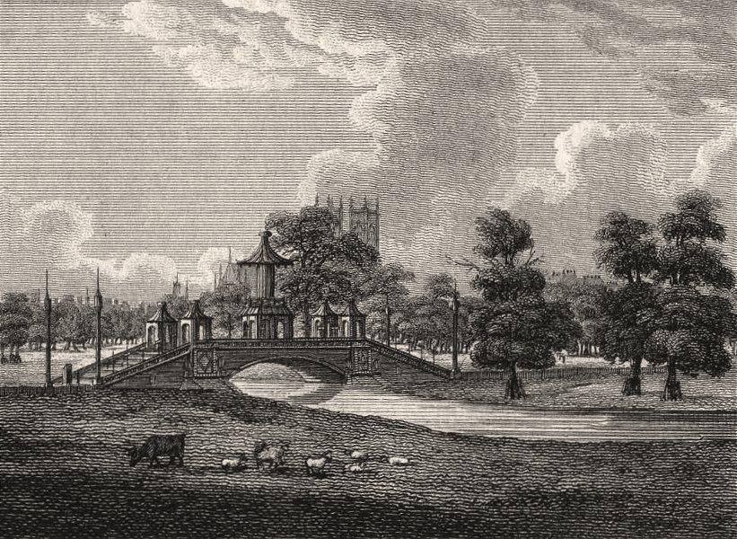 Associate Product Chinese Bridge, St James's Park, London. Antique engraved print 1817 old