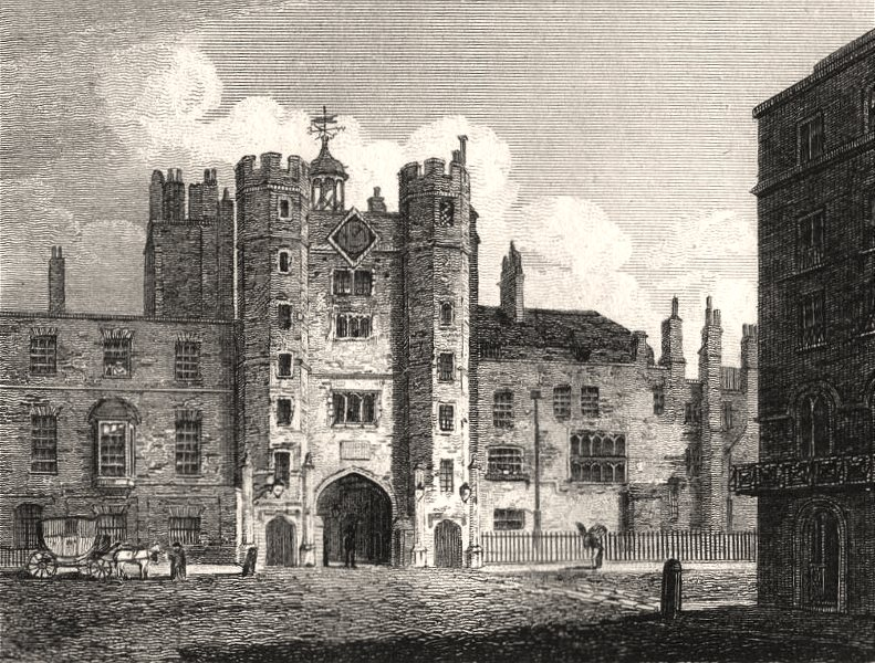 Associate Product St James's Palace from Pall Mall, London. Antique engraved print 1817