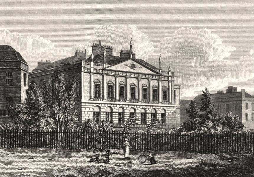 Associate Product Earl Spencer's House, Green Park, London. Antique engraved print 1817