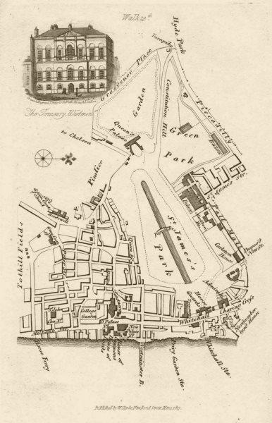 Associate Product Westminster St James's/Green Park Whitehall Buckingham Palace Treasury 1817 map
