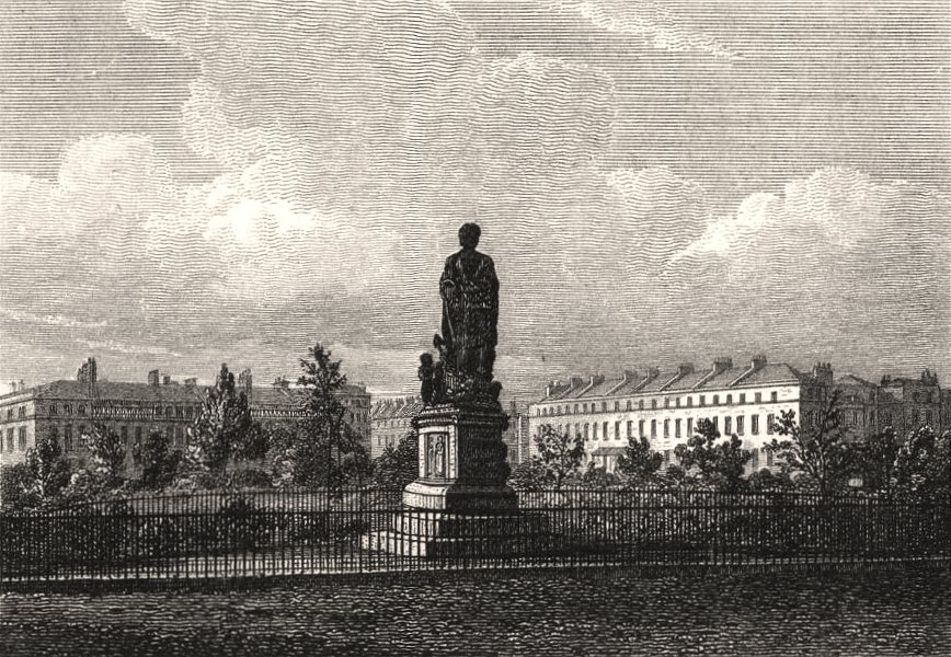 Associate Product Duke of Bedford statue, Russell Square, London. Antique engraved print 1817