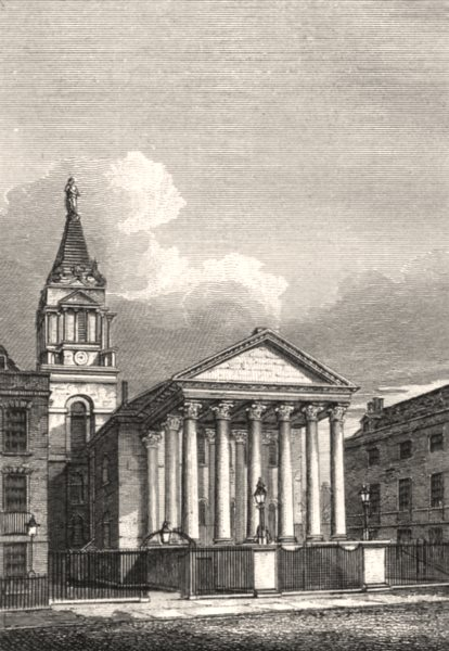 Associate Product St George's Church, Bloomsbury, London. Antique engraved print 1817 old
