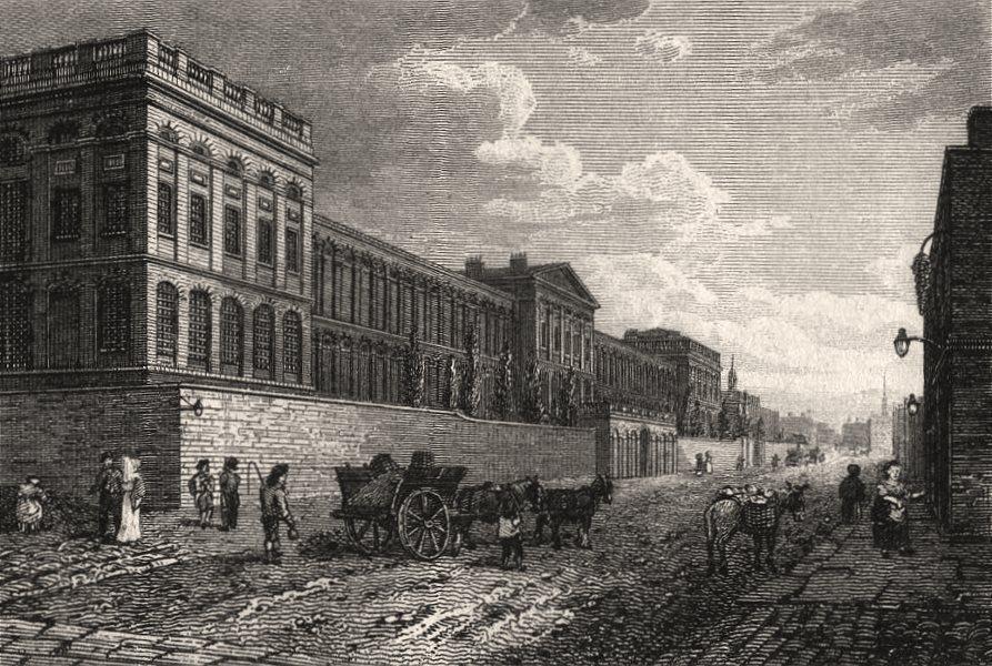 Associate Product St Luke's Hospital, Old Street Road, London. Antique engraved print 1817