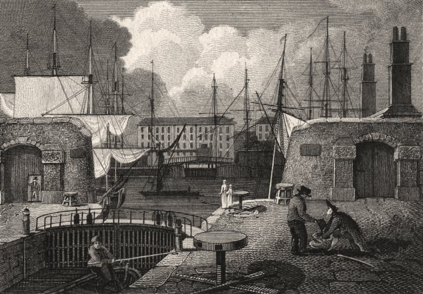 Associate Product The shipping entrance, London Docks, London. Antique engraved print 1817