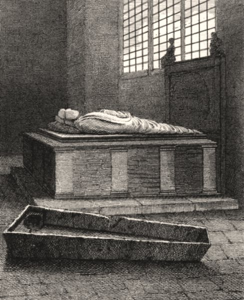 Associate Product Bishop Andrew's Tomb, St Mary Overies, London. Antique engraved print 1817