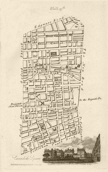Marylebone & Fitzrovia. Oxford Street Edgware Rd Tottenham Court Road 1817 map