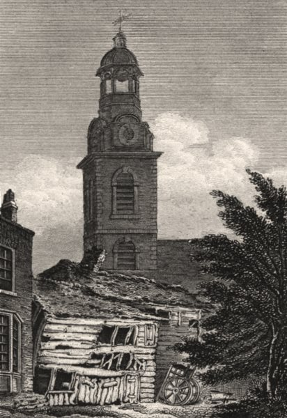 Associate Product Christ Church, Black Friars, London. Antique engraved print 1817 old
