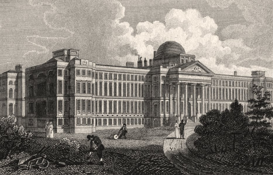 Associate Product The New Bethlem, St George's Fields, London. Antique engraved print 1817