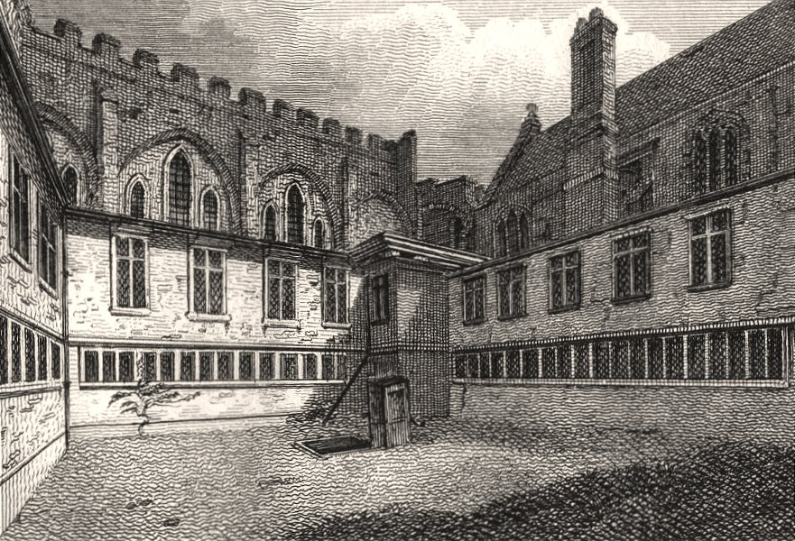 Associate Product The Cloisters, Lambeth Palace, London. Antique engraved print 1817 old
