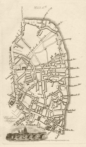 Associate Product Southwark Southbank Bankside Borough Newington Waterloo London Bridge 1817 map