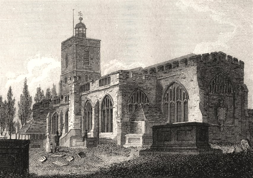 Associate Product Stepney Church, London. Antique engraved print 1817 old picture