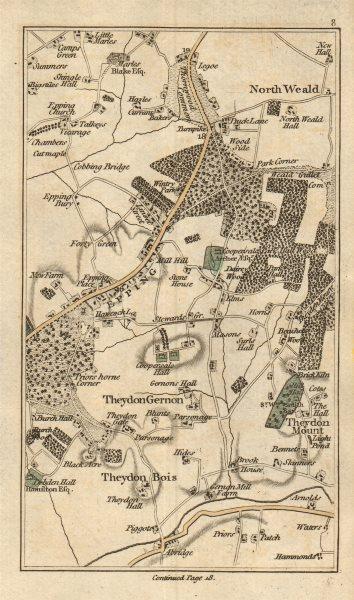 Associate Product EPPING North Weald Bassett Loughton Theydon Bois Garnon Mount Abridge 1786 map