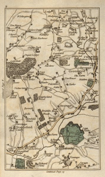 Associate Product CHIPPING ONGAR North Weald Bassett Marden Ash Toot Hill Bobbingworth 1786 map