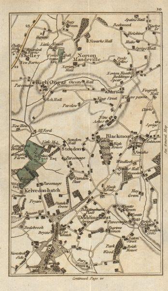 Associate Product ESSEX Blackmore Kelvedon Hatch Doddinghurst High Ongar Fox Hatch CARY 1786 map