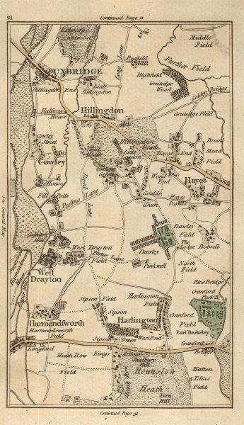 Associate Product UXBRIDGE Hillingdon Hayes West Drayton Yiewsley Ickenham Heathrow CARY 1786 map