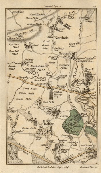 Associate Product GREENFORD Hounslow Northolt Hanwell Southall Heston Osterley CARY 1786 old map