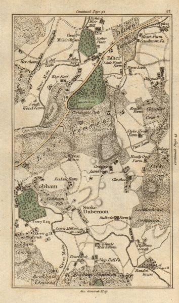 Associate Product ESHER Cobham Walton-on-Thames Stoke D'abernon Bookham Leatherhead CARY 1786 map