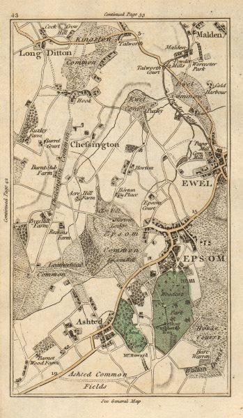 Associate Product EPSOM Malden Ewell Ashtead Long Ditton Chessington Surbiton Kingston 1786 map