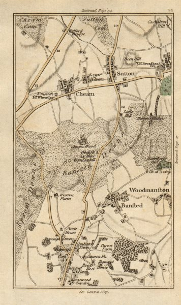 Associate Product SUTTON Carshalton Cheam Woodmansterne Banstead Chipstead Ewell CARY 1786 map