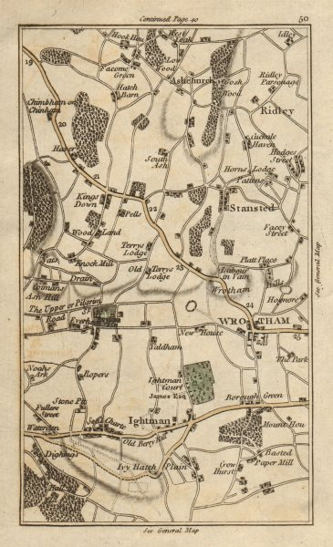 Associate Product KENT Ashchurch Wrotham Stansted Ridley Ightham Kingsdown CARY 1786 old map