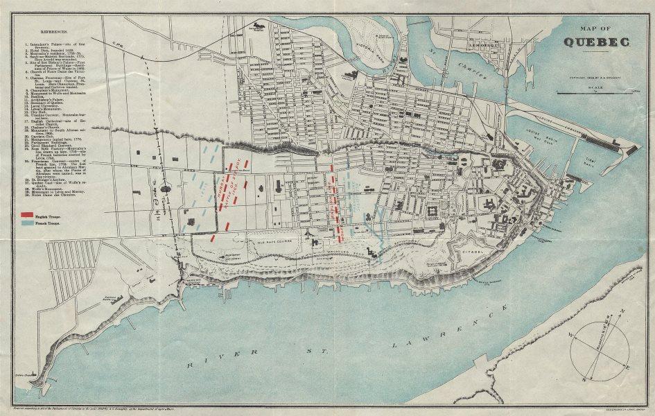 Associate Product QUEBEC CITY plan Ville de Québec 1759/60 British/French troop positions 1908 map