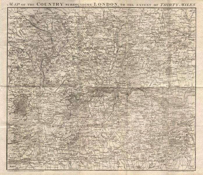 Associate Product Map of the Country surrounding London to the extent of Thirty Miles HUGHSON 1818