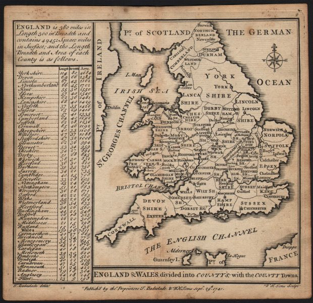 """Associate Product """"England & Wales divided into countys…"""" by Badeslade & Toms 1742 old map"""