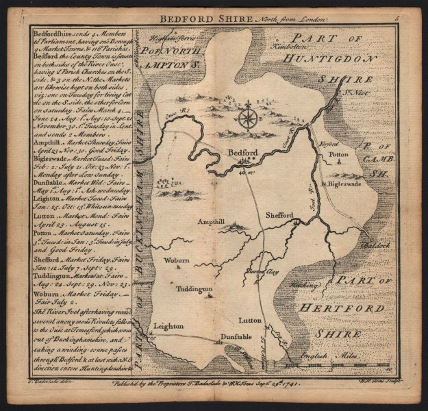 Associate Product Antique county map of Bedfordshire by Badeslade & Toms 1742 old