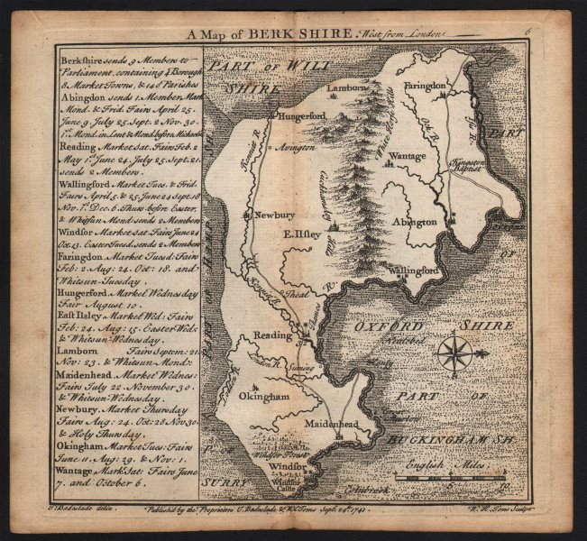 Associate Product Antique county map of Berkshire by Badeslade & Toms. West orientation 1742